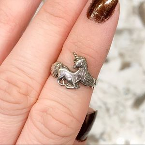 Unicorn Sterling Silver Ring Size 5